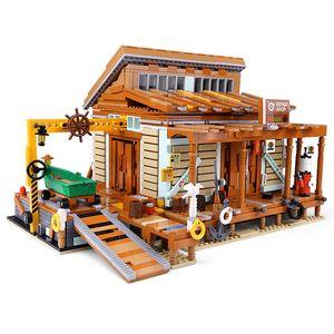 Старый рыболовный магазин судостроительная лодка обслуживание строительные блоки MOC Creator серии PG12004 2027PCS кирпичи игрушки подарки