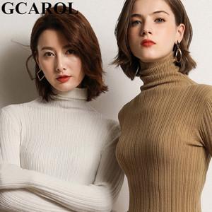 GCAROL Automne Hiver Femmes Jacquard Stripes Pull à col roulé 30% Tight Fit laine OL élégante stretch pull chaud Daily Tricots Y200720