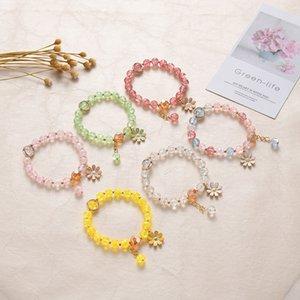 Brand new explosive crystal bracelet Female powder crystal sun flower sisters best friend student hand ornaments small Daisy bracelet