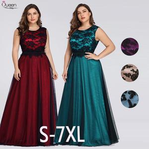 Плюс размер аппликациями Вечерние платья Длинные Queen Abby A-линия рукавов Кружева Формальное Свадебные платья партии Гость Vestidos De Novia