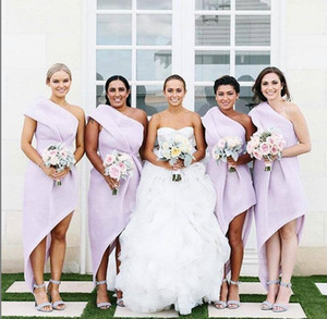 2020 Lavender Sheath Bridesmaid Dresses one Shoulder hi-lo Garden Plus Size ruched stain Wedding Guest Evening Party Gowns Maid of Honor