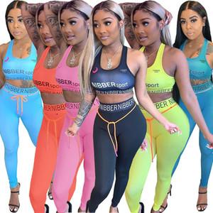 Femmes deux pièces Tracksuit Sexy Collants Sportswear Letter Impression Yoga Fitness Sport Set pour Dames Gym Vêtements Entraînement 2020