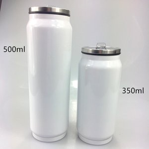 500ml Sublimation Cola Can Cooler Keeper Stainless Steel Cola Bottle Double Wall Coffee Mug with Lid and Straw