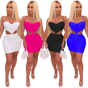 섹시한 클럽 드레스 랩 Bodycon 파티 드레스 미니 내기 Vestidos 솔리드 여자 컷 아웃 중공 허리 원피스 화이트 블랙 로즈 레드