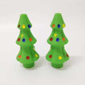 DHL Free Silicone Pipe Christmas Tree Pipe With Glass Bowl FDA Silicon Copper Pipe Spoon Christmas Gift Box