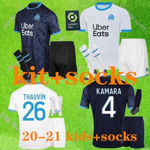 Kit enfants + chaussettes 2020 Olympique de Marseille Maillot de football 20 21 OM Marseille PAYET L.GUSTAVO THAUVIN BENEDETTO chemises de football