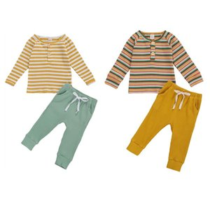 Kids Baby Spring Autumn 2-piece Outfit Set Kids Boy Girl Long Sleeve Striped Top and Solid Color Pants Set Children Pajama