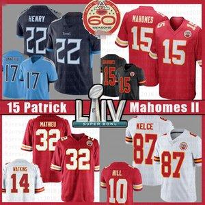 15 le football Patrick Mahomes Jersey KansasVilleChef Derrick Henry 32 22 Ryan 87 Tannehill Travis Kelce Tyrann Mathieu Tyreek Hill