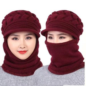 Ymsaid Winter Hats 's Hair Knitted Hat Women Wool Scarf Caps Warm Winter Hat Balaclava Mask Gorras Mother's Gift