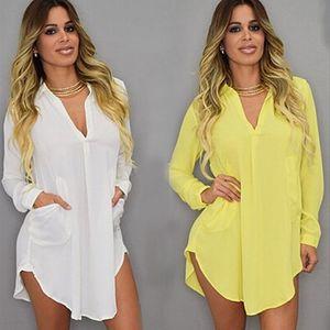 Sommer-reizvolle V Ansatz Kurzschluss-Strand-Kleid-Chiffon- weiße Mini loser beiläufigen T-Shirt-Kleid plus Größen-Frauen-Kleidung