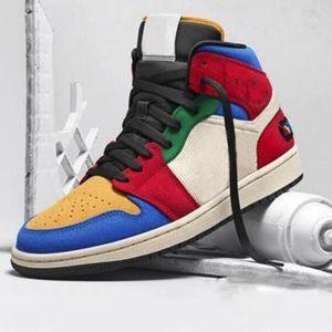 الأزرق العظيم × 1 CLOT أحذية كرة السلة 1S منتصف بلا خوف النساء الرجال ملون الرياضة احذية قصر Chaussures أون لاين