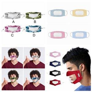 Sağır-dilsiz Şeffaf Yüz Maskesi Kamuflaj Yıkanabilir Yeniden kullanılabilir Maskeler Anti Toz Antifog earloop Temizle Tasarımcı Maskeler 12styles RRA3298