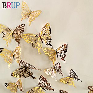 12Pcs lot New 3D Hollow Golden Silver Butterfly Wall Stickers Art Home Decorations Wall Decals for Party Wedding Display Shop
