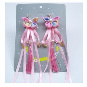 8ZmGp Chinese style children's tassel hairpin Tang suit Han clothing accessories flower headdress tang costume headdress ribbon hairpin hair