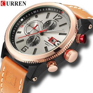 Fashion Mens Chronograph Watches Genuine Leather Strap Quartz Wristwatch CURREN 2018 Casual Sport Style Waterproof 99FT Relojes
