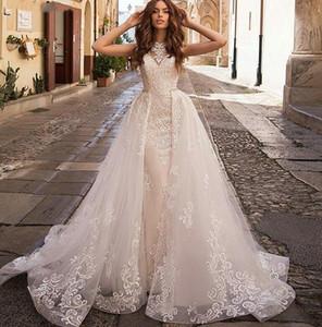 Elegant Lace Mermaid Wedding Dresses With Detachable Train Appliqued Lace Neck Boho Bridal Gowns Robe De Mariee