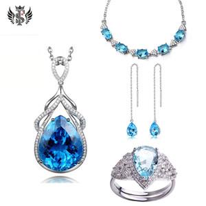 Conjunto de jóias da gota da água Sapphire Anel longa borla orelha Cadeia Mermaid lágrimas colar azul Pulseira Topaz