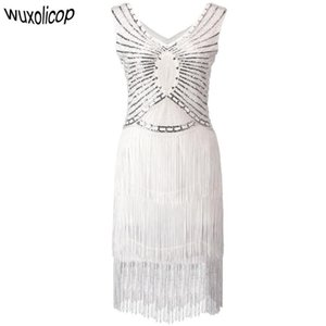 1920s Gatsby Charleston Sequin White Bead Fringe Flapper Dress Vestido Robe Double V-Neck Sleeveless Tiered Tassel Party Dress