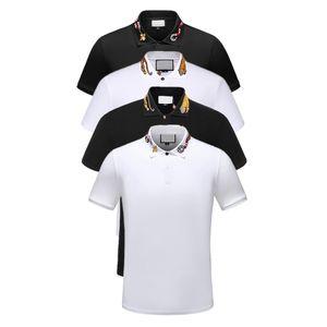 en kaliteli Moda Erkek Polos Tişörtlü Avrupa Paris patchwork kaplan Nakış Casual Clothesxiaomi zirve polos t gömlek
