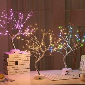 108 USB LED Lampe de table de fil de cuivre de Noël Arbre feu Veilleuse Lampe de table Maison de Chambre Décoration de Noël pour enfants