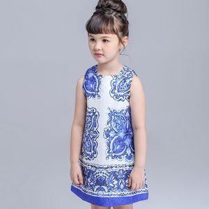 BINIDUCKLING Summer Girls Dress Children Designer Brand rose Blue white Porcelain Sleeveless Princess Party Kids Dresses Clothes T200709