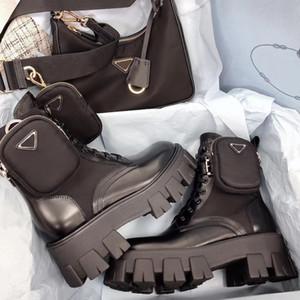 2020 رويس أحذية نايلون ديربي الكاحل مارتن الأحذية النسائية معركة أحذية جلدية الأسود المطاط وحيد أحذية منصة نايلون الحقيبة مع صندوق
