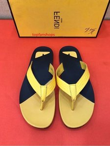 2019 New yellow flip flops 207508 Men Slippers Slippers Drivers Sandals Slides Sneakers Princetown Leather Slipper Real leather Shoes