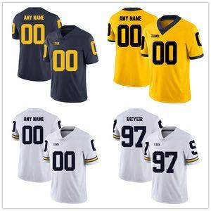 Costumbre Michigan Wolverines Colegio cualquier número nombre bordado de las mujeres Fútbol Jersey cosida jóvenes para hombre tamaño S-4XL