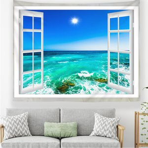 Windows Scenery Wall Hanging Tapestry Beach Towels Blanket Yoga Mat Home Wall Carpet Decor