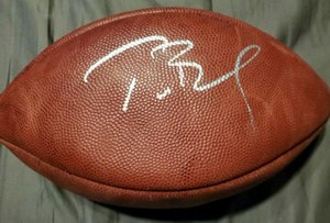 Kapı Futbol topu dışarı Tom Brady İmzalı Signed signatured ABD Amerika rugby Milli Futbol Lig spor kapalı /