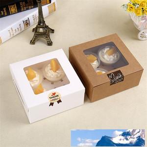 16x16x7.5cm Cavity Clear Window Creative Kraft Brown & White Cupcake Boxes Muffin Packaging Box LZ0745