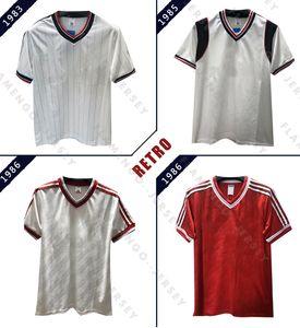 1983 1985 1986 RETRO FUTBOL shirt UNITED 83 85 86 beyaz Vintage futbol formaları MAN UTD Paul Ince Robson Hughes Camiseta