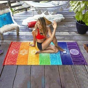 Полиэстер Богема Гобелен Индии Mandala Одеяло-чакра Цветные Гобелен Радуга Stripes Travel Beach Yoga Mat b0Y5 #