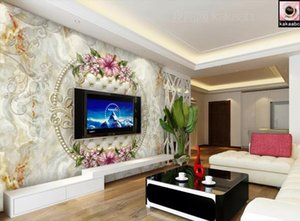 Custom 3D Mural Wallpaper European Style Marble lily Wall Painting bedroom Living Room TV Background Wallpaper luxury decor