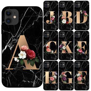 العرف رسالة مخصص الرخام الأولي الزهور الأسود الهاتف سيليكون حالة الغطاء للحصول على اي فون برو 11 ماكس X XS ماكس XR 6 7 8 6S زائد