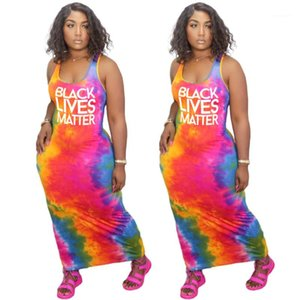 Clothes Womens Ankle Length Dress Fashion Letter Panelled Tie Dye Dress Sexy Scoop Neck Bodycon Dresses Womens
