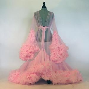 Seksi Kadınlar Ruffles Pembe pijamalar İçin Abiye Kadınlar Bornoz Şeffaf Gecelik Uzun Kollu Abiye Robe Balo Gelinlik Shawel