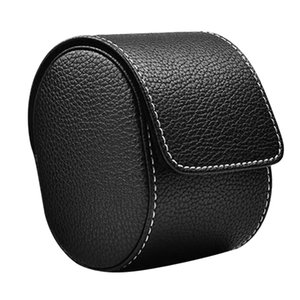 PU Leather Watch Storage Case with Velvet Interior Watch Organizer Box Single Slot Jewelry Mens Wristwatch Protection Bag