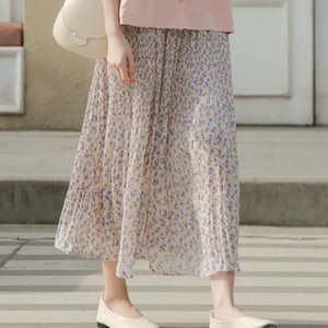 2020 Korean style simple sweet girl A- LINE dress long skirt floral chiffon pleated skirt long A- line dress women's fashion