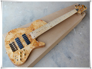 Factory custom 5 strings 24 Frets Maple Fingerboard Original Neck-thru-body Electric Bass Guitar with Dots Inlay,Golden hardware