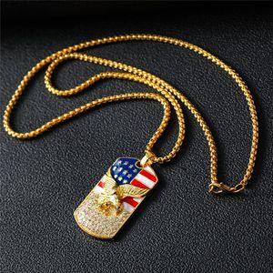 Mode Hiphop Or Drapeau américain d'Eagle Pendentif chaîne militaire soldat Collier hommes d'or du cou Accessoires de bijoux