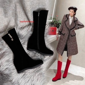Plus size 34 to 40 41 42 43 red black wedge mid calf boots inviside height increased winter booties Come With