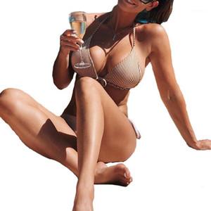 2020 Kadınlar Yeni İki adet Çizgili Mayo Bayanlar Halter Üst Yüzme Suit Orta Bel Thong Tel Ücretsiz Swimwear Dantel-up