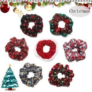 Christmas Scrunchies For Women Girls Elastic Hair Rubber Bands Hair Ring Velvet Ponytail Holder Fashion Christmas Ornaments 7 Designs DW4813