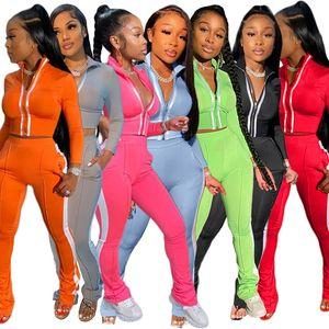Frauen feste Farbe Reflexstreifen 2 zwei Stück Trainingsanzüge crop top Gamaschenhosen Outfits Set Sportanzug Herbst plus Größe Kleidung Reißverschluss