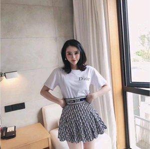 2020 летом новая женская мода костюм футболка + эластичные талии письма по технике безопасности Брюки юбки рыхлости показать тонкий костюм