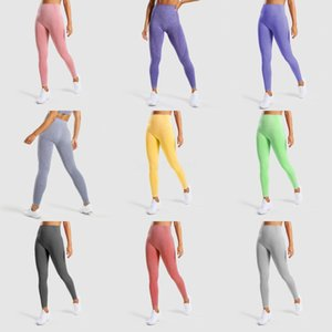 High Waist Solid Color Women Yoga Pants Sports Gym Clothing Leggings Elastic Fitness Lady Overall Full Tights Workout#466