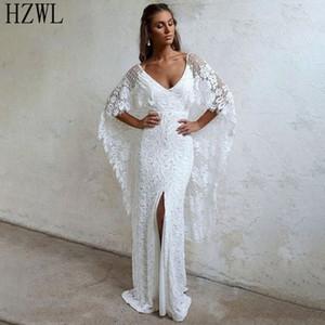2020 vestidos de novia Backless Gelinlik Nisan Beyaz Dantel Uzun kollu Gelin Elbise Vintage Stil Yan Bölünmüş Gelinlik