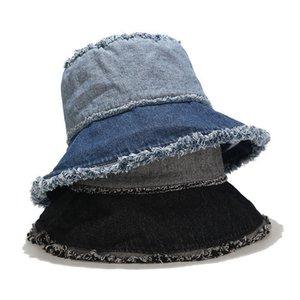 2020 Hat women men Korea new basin caps women washed edging hip hop sun hat trend net red denim stitching fisherman bucket