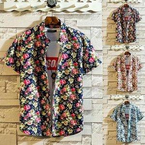 Summer 2020 Mens Shirts Short Sleeve Casual Floral Print Hawaiian Shirts Blouse Streetwear Camisas hombre Mens Hawaii